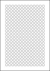 Product EU30059WI - 10mm x 10mm Labels - Weatherproof Gloss White Inkjet - 260 Per A4 Sheet