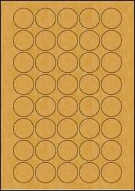 Product EU30074BK - 32mm Circle Labels - Brown Kraft - 40 Per A4 Sheet