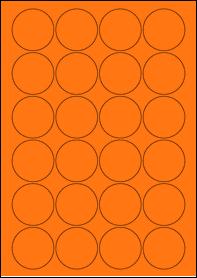 Product EU30095AB - 45mm x 45mm Labels - Fluorescent Matt Orange - 24 Per A4 Sheet