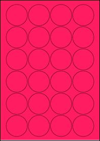Product EU30095PB - 45mm x 45mm Labels - Fluorescent Matt Pink - 24 Per A4 Sheet