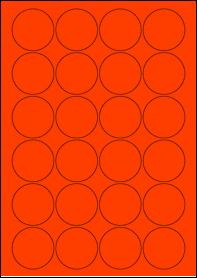 Product EU30095RB - 45mm x 45mm Labels - Fluorescent Matt Red - 24 Per A4 Sheet