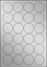 Product EU30095SP - 45mm x 45mm Labels - Weatherproof Silver Laser - 24 Per A4 Sheet