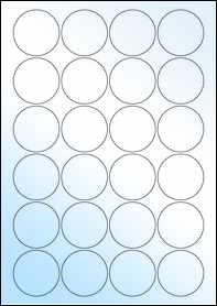 Product EU30095WG - 45mm x 45mm Labels - Gloss White Inkjet - 24 Per A4 Sheet