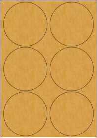 Product EU30098BK - 95mm x 95mm Labels - Brown Kraft - 6 Per A4 Sheet