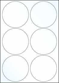 Product EU30098CL - 95mm x 95mm Labels - Gloss Clear Laser - 6 Per A4 Sheet