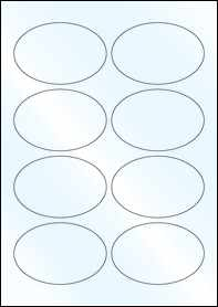 Product EU30099WG - 90mm x 60mm Labels - Gloss White Inkjet - 8 Per A4 Sheet