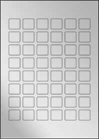 Product EU30108SF - 24mm x 22mm Labels - Metallic Silver Laser - 48 Per A4 Sheet
