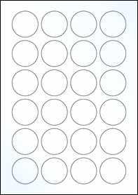 Product EU30109CK - 40mm x 40mm Labels - Gloss Clear Inkjet - 24 Per A4 Sheet