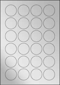 Product EU30109SF - 40mm x 40mm Labels - Metallic Silver Laser - 24 Per A4 Sheet