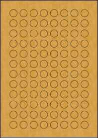 Product EU30119BK - 16mm circle Labels - Brown Kraft - 96 Per A4 Sheet