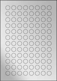 Product EU30119SF - 16mm circle Labels - Metallic Silver Laser - 96 Per A4 Sheet