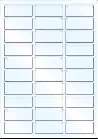 Product EU30124WG - 60mm x 25mm Labels - Gloss White Inkjet - 30 Per A4 Sheet