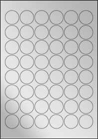 Product EU30166SF - 30mm x 30mm Labels - Metallic Silver Laser - 48 Per A4 Sheet