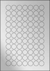 Product EU30169SF - 21mm x 21mm Labels - Metallic Silver Laser - 77 Per A4 Sheet