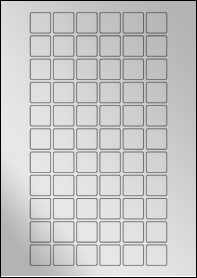 Product EU30178SF - 22mm x 22mm Labels - Metallic Silver Laser - 66 Per A4 Sheet