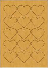 Product EU30199BK - 57.79mm x 47.93mm Heart Labels - Brown Kraft - 15 Per A4 Sheet