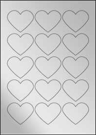 Product EU30199SF - 57.79mm x 47.93mm Heart Labels - Metallic Silver Laser - 15 Per A4 Sheet
