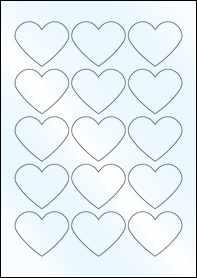Product EU30199GL - 57.79mm x 47.93mm Heart Labels - Weatherproof Gloss Laser - 15 Per A4 Sheet