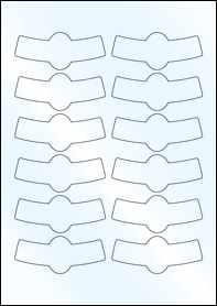 Product EU30200WG - 88.475mm x 36.69mm Bottle Neck Labels - Gloss White Inkjet - 12 Per A4 Sheet