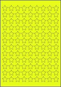 Product EU30205YB - 19.05mm x 19.05mm Labels - Fluorescent Matt Yellow - 108 Per A4 Sheet