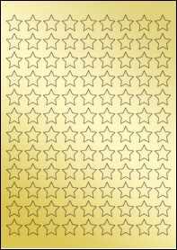 Product EU30205GF - 19.05mm x 19.05mm Labels - Metallic Gold Laser - 108 Per A4 Sheet