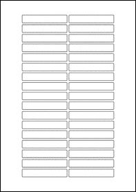 Product EU30207BT - 70mm x 12mm Labels - Blockout Matt White - 34 Per A4 Sheet