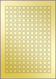 Product EU30231GF - 12mm x 12mm Labels - Metallic Gold Laser - 176 Per A4 Sheet