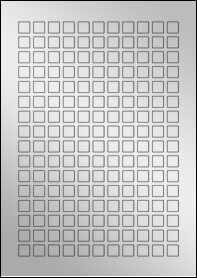Product EU30231SF - 12mm x 12mm Labels - Metallic Silver Laser - 176 Per A4 Sheet