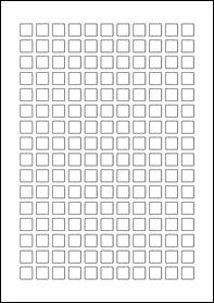 Product EU30231WR - 12mm x 12mm Labels - Removable Matt White - 176 Per A4 Sheet