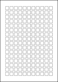 Product EU30231BT - 12mm x 12mm Labels - Blockout Matt White - 176 Per A4 Sheet