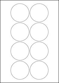 Product  - 66mm Circle Labels -  - 8 Per A4 Sheet