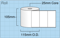 Product  - 102mm x 50mm Labels -  - 1,500 Per Roll