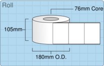 Product  - 102mm x 76mm Labels -  - 2,000 Per Roll