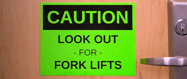 Neon green label paper used as warning sticker