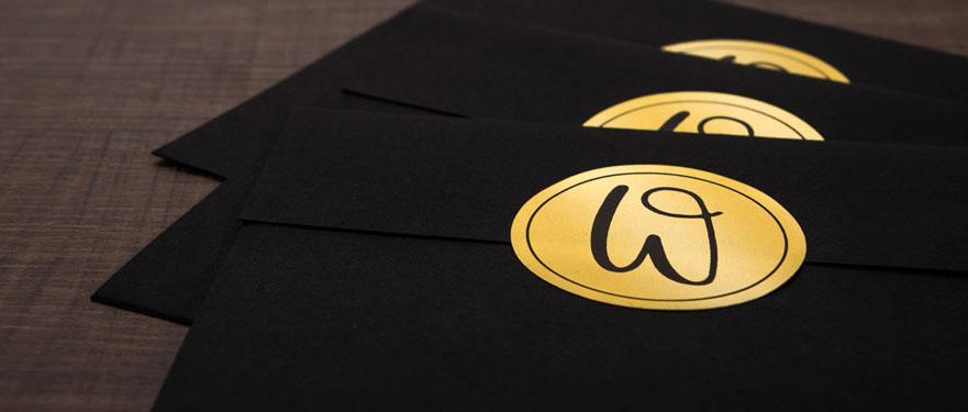 Gold foil label used as envelope seal