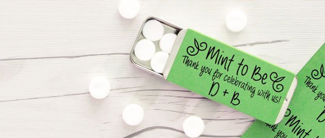 Green adhesive paper used as wedding favor label