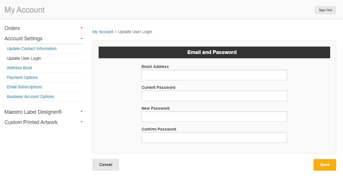 Update password screen