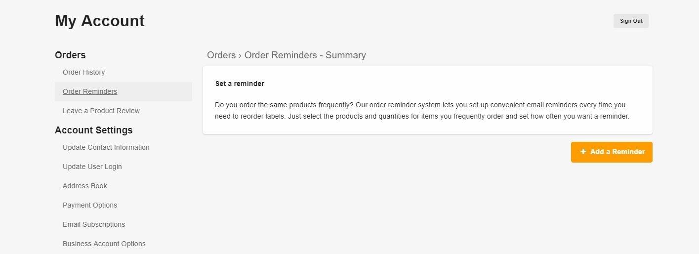 Add order reminder screen